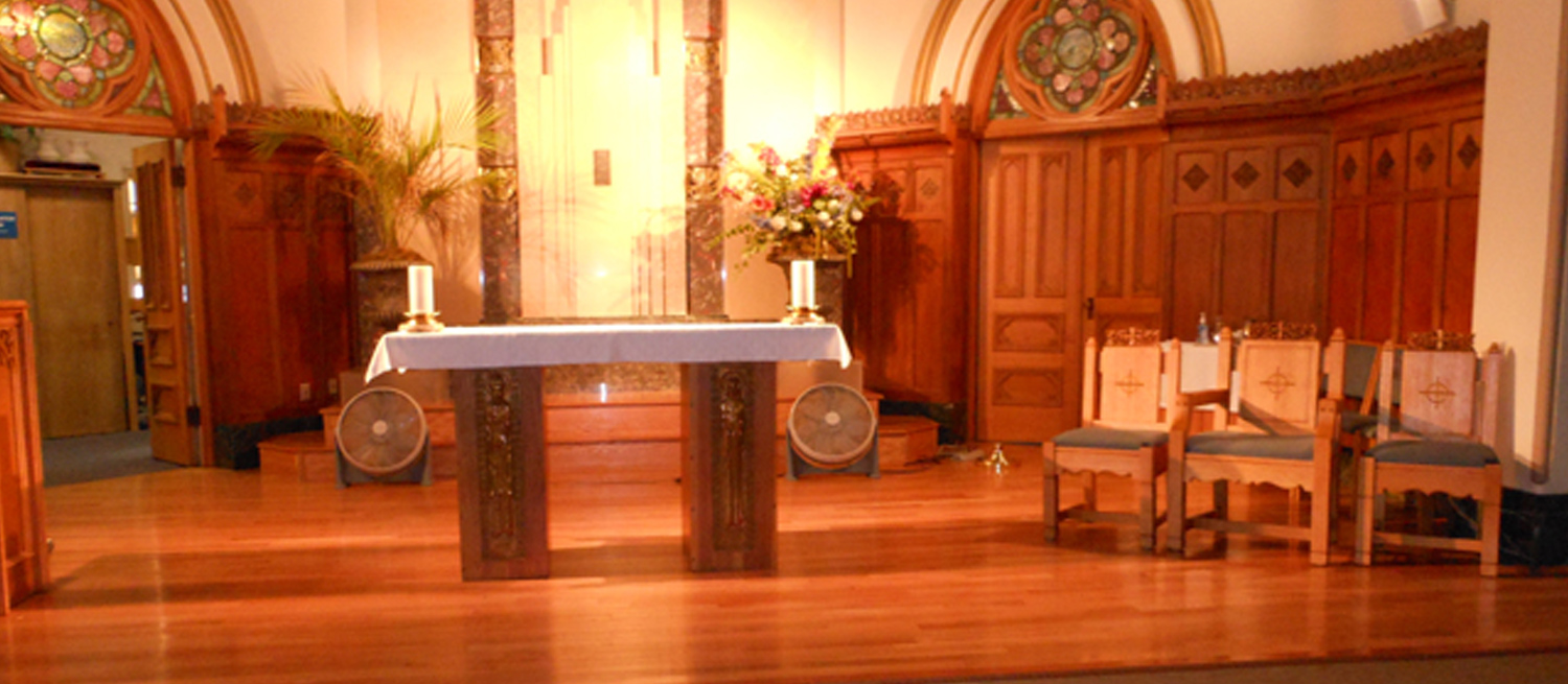 An altar that underwent hardwood floor repair by Ron Wilson and Sons in Pelham, NH