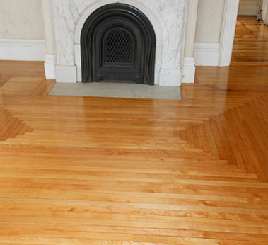 A hardwood floor repair job completed by Ron Wilson and Sons in Pelham, NH